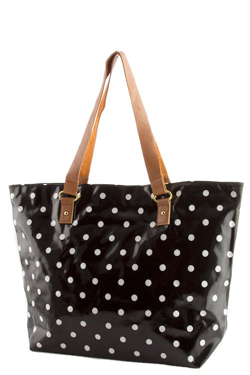 Laminated Canvas Polka Dot Tote