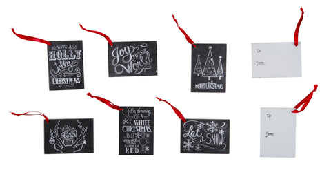 Wooden Chalkboard Gift Tags/Ornaments - Set of 6