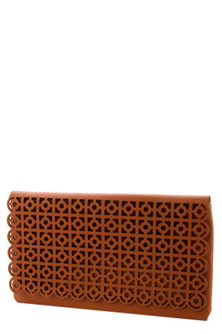 Patterned Leather Clutch