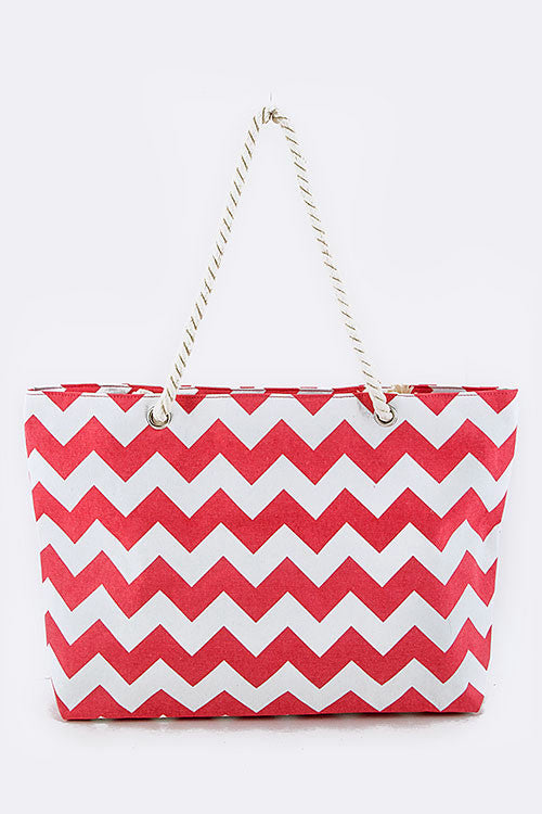 Large Chevron Tote w/ Zipper- CORAL