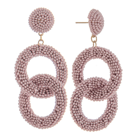 Poppy Double Hoop Beaded Earrings - Lavender