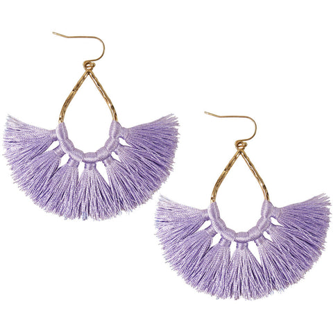 Lavender Teardrop Fringe Tassel Earrings