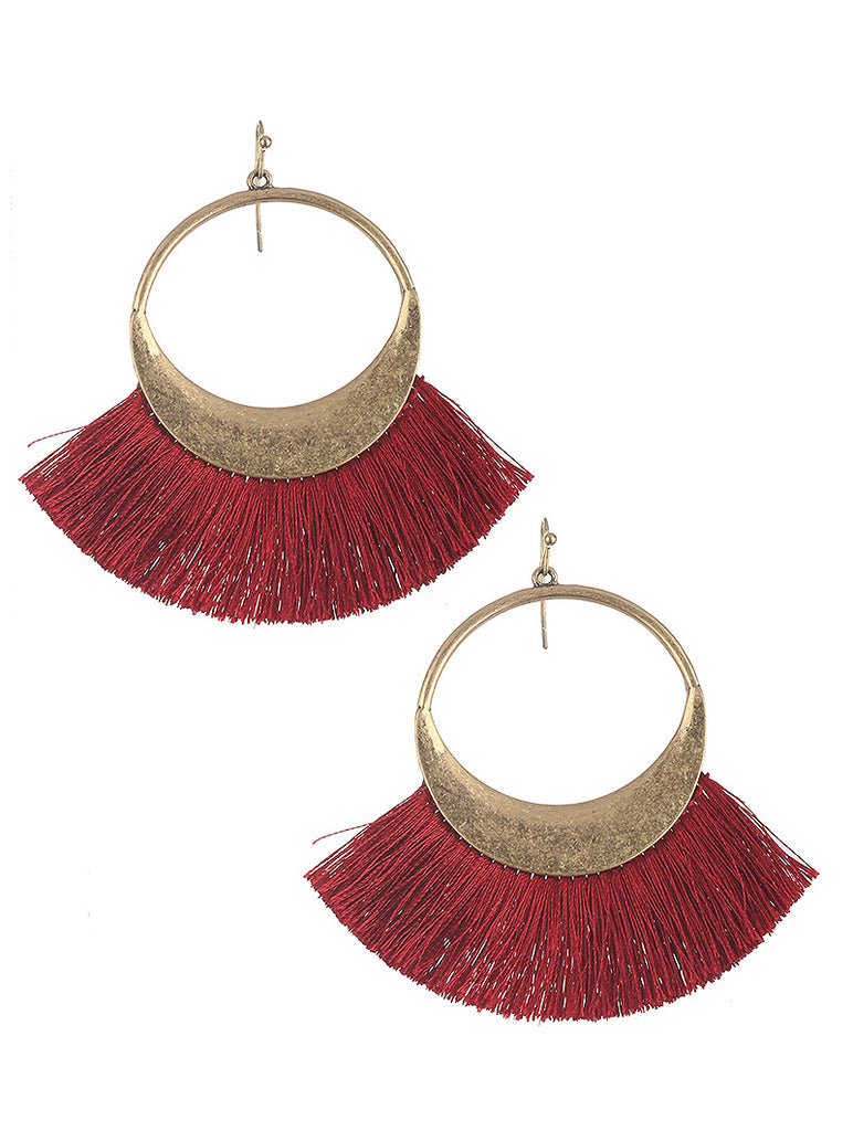 Libby Fringe Hoop Earrings - Maroon