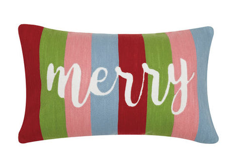 "Bright Striped ""Merry"" Pillow"