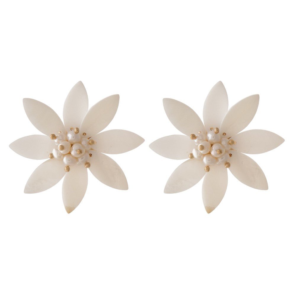 Penny Natural Shell Stud Floral Earrings