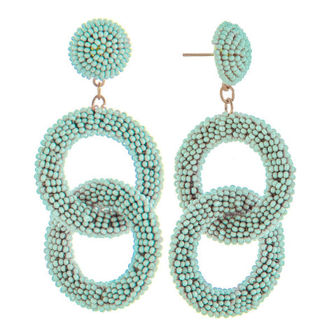 Poppy Double Hoop Beaded Earrings - Ocean