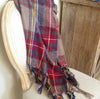 Tassel Plaid Blanket Scarf - Festive Red