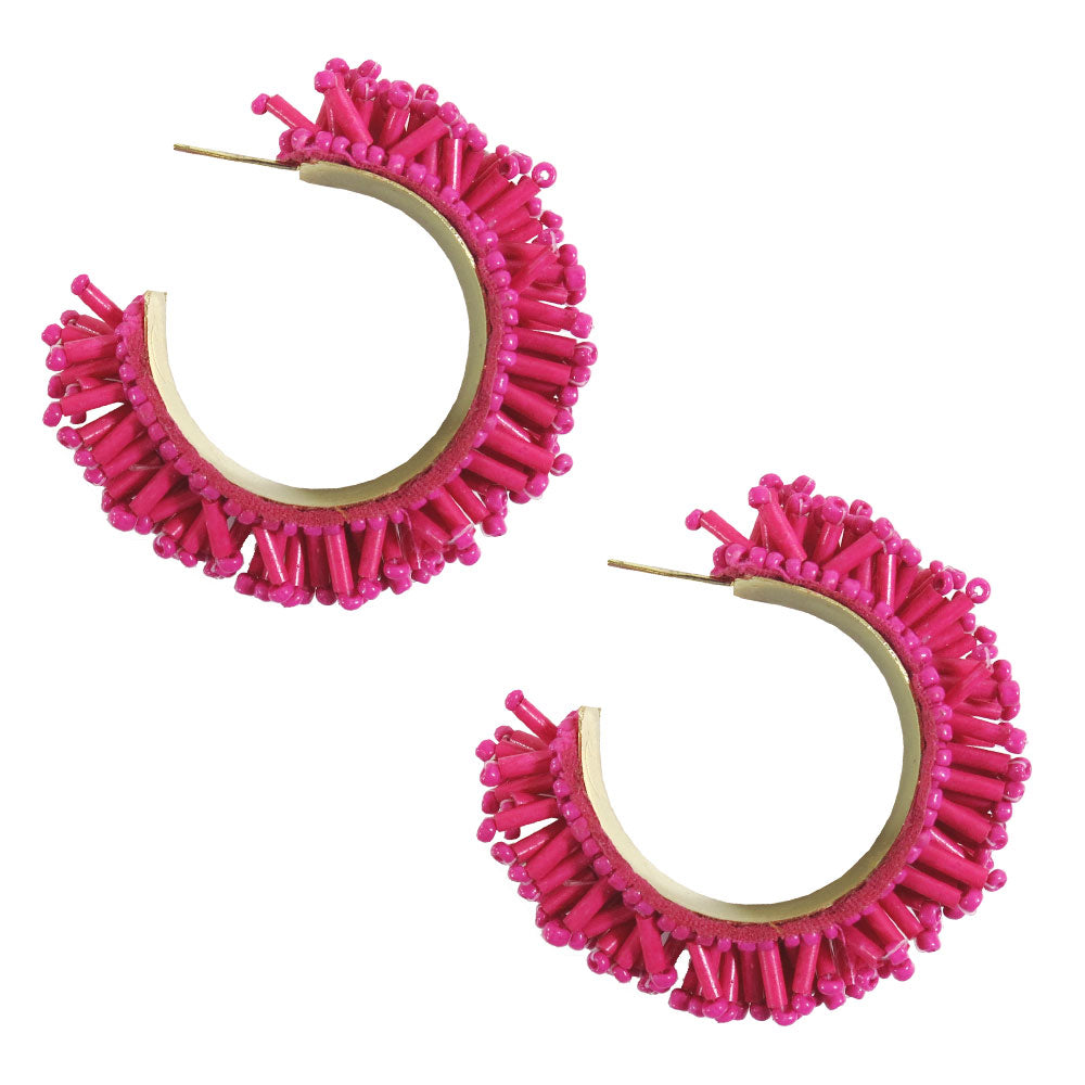 Selena Beaded Fringe Hoop Earrings - Magenta