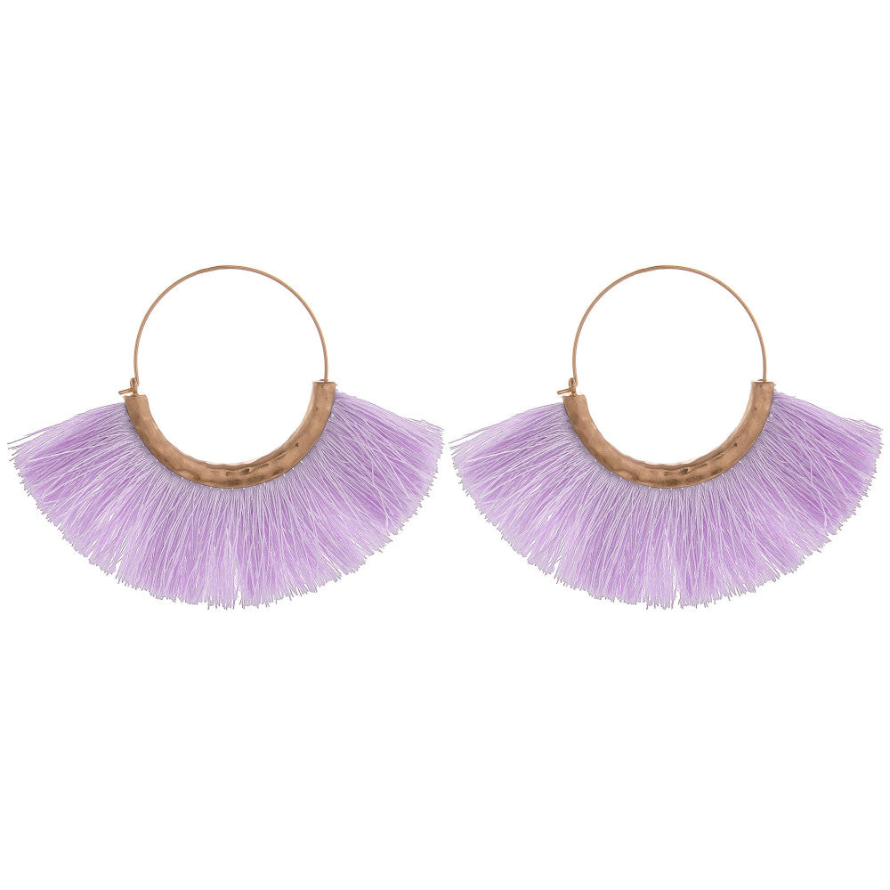 Farrah Fringe Tassel Hoop Earrings - Lilac