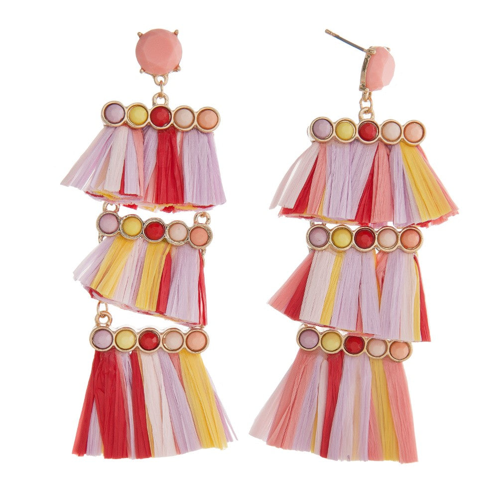 Sadie Raffia Tassel Earrings