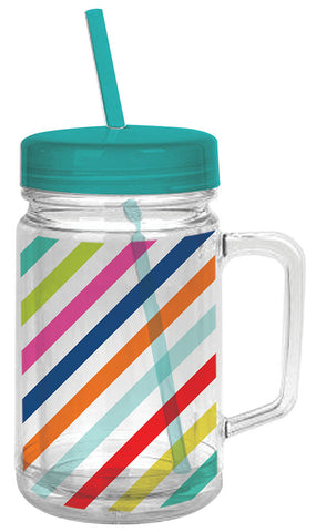 Striped Double-Wall Mason Tumbler