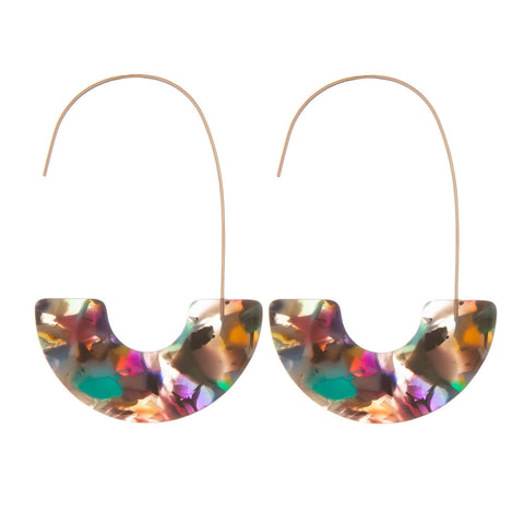 Mona Resin Hook Earrings - Pink/Green/Multi