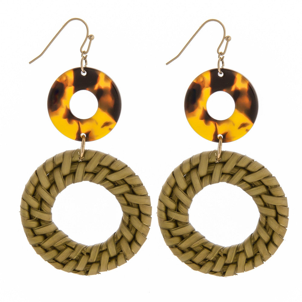 Remi Round Wicker & Tortoise Earrings