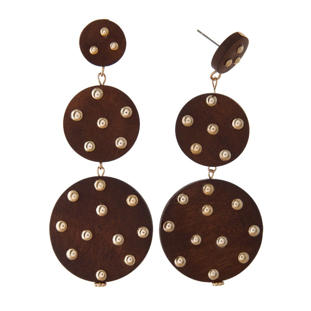 Sierra Studded Wooden Earrings