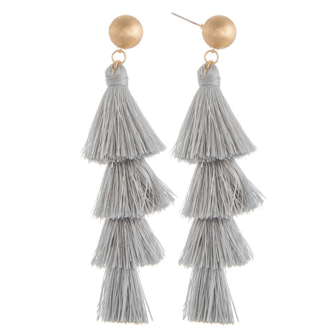Gretchen Tassel Fringe Earrings - Grey