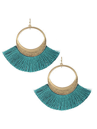 Libby Fringe Hoop Earrings - Teal