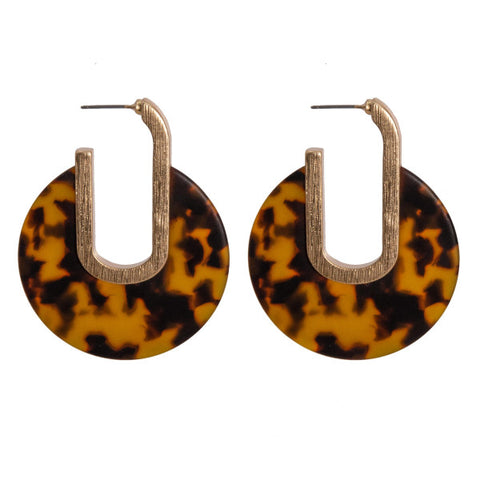 Tilly Tortoise Round Earrings