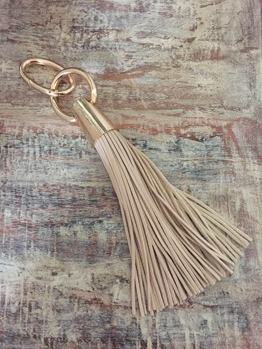 Large Leather Fringe Tote Tassel - Natural/Gold