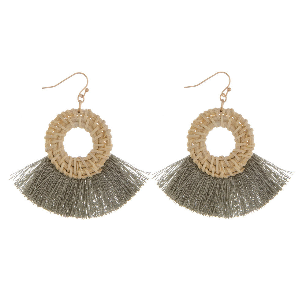 Wendy Wicker Fringe Tassel Earrings - Olive