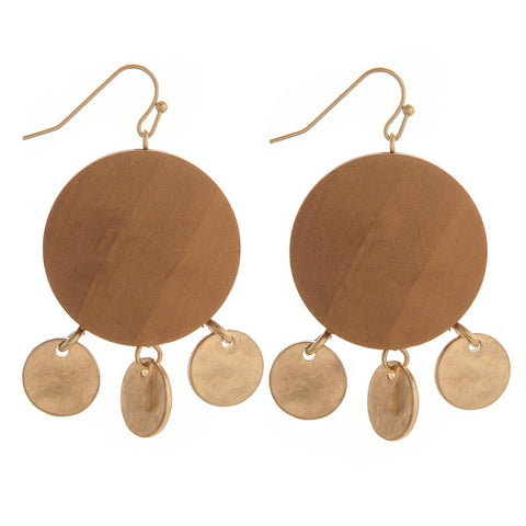 Bonnie Wood & Gold Charm Earrings