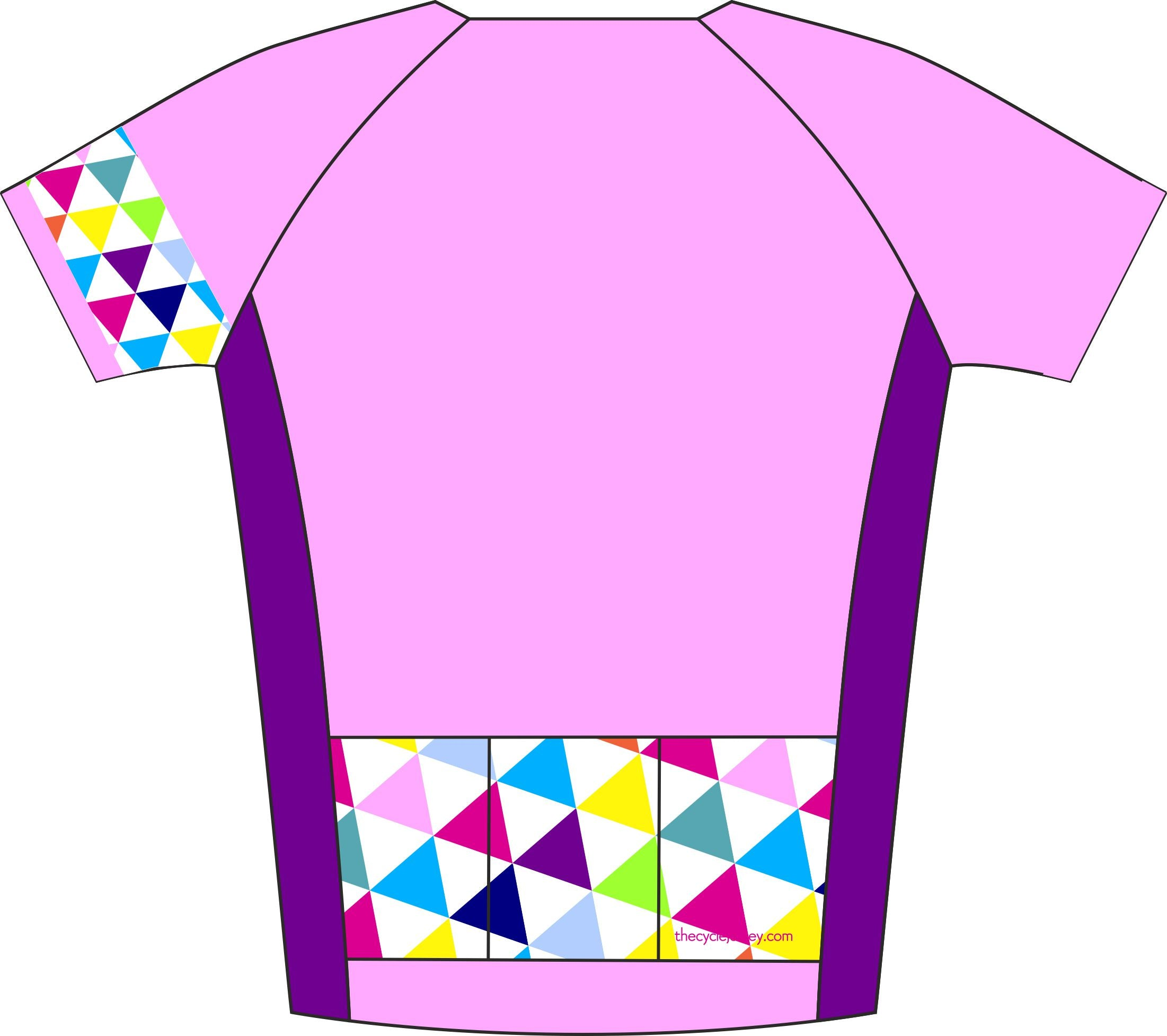 Alternative Triangle Pink Road Cycle Jersey Back
