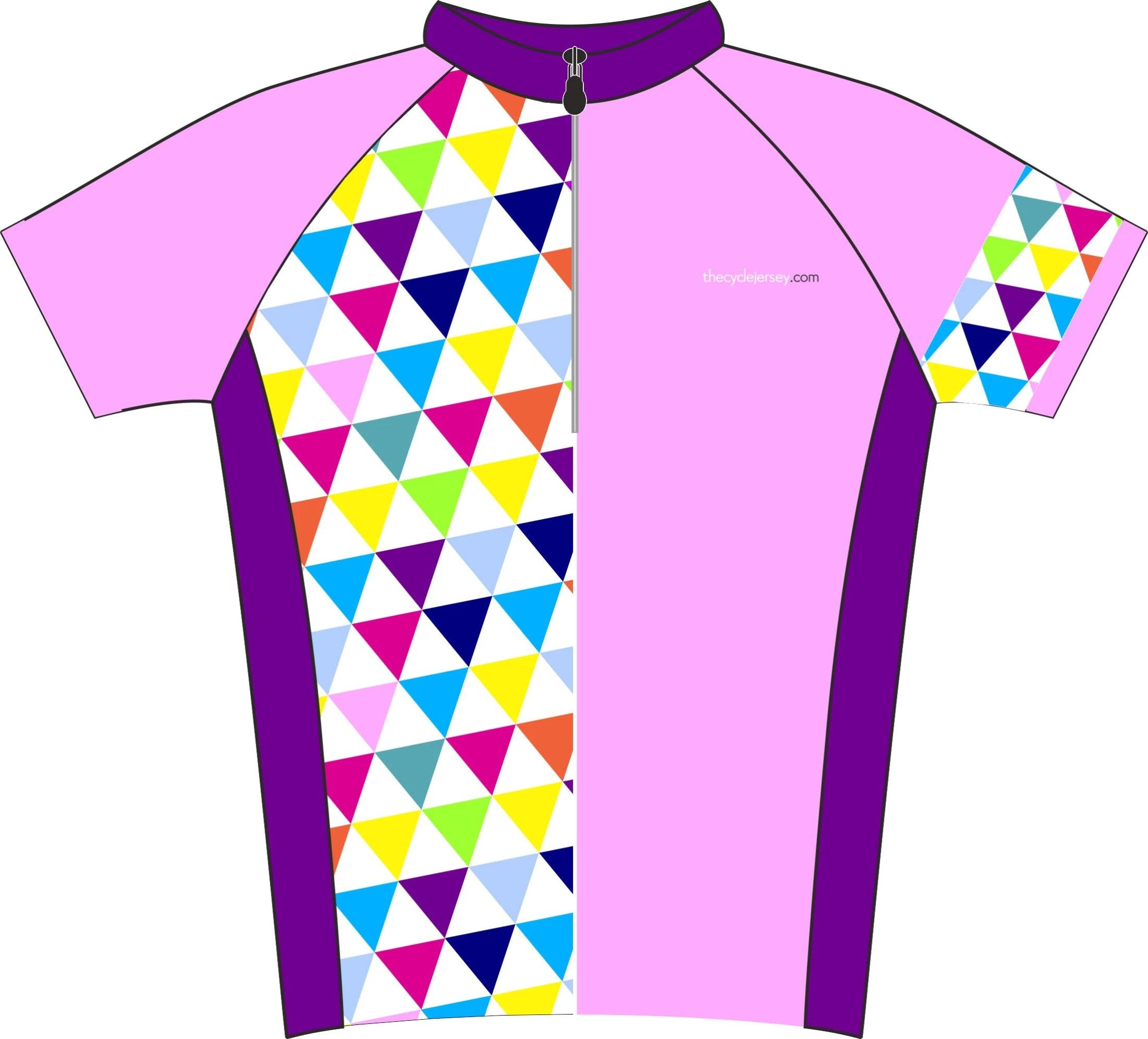 Alternative Triangle Pink Road Cycle Jersey Front