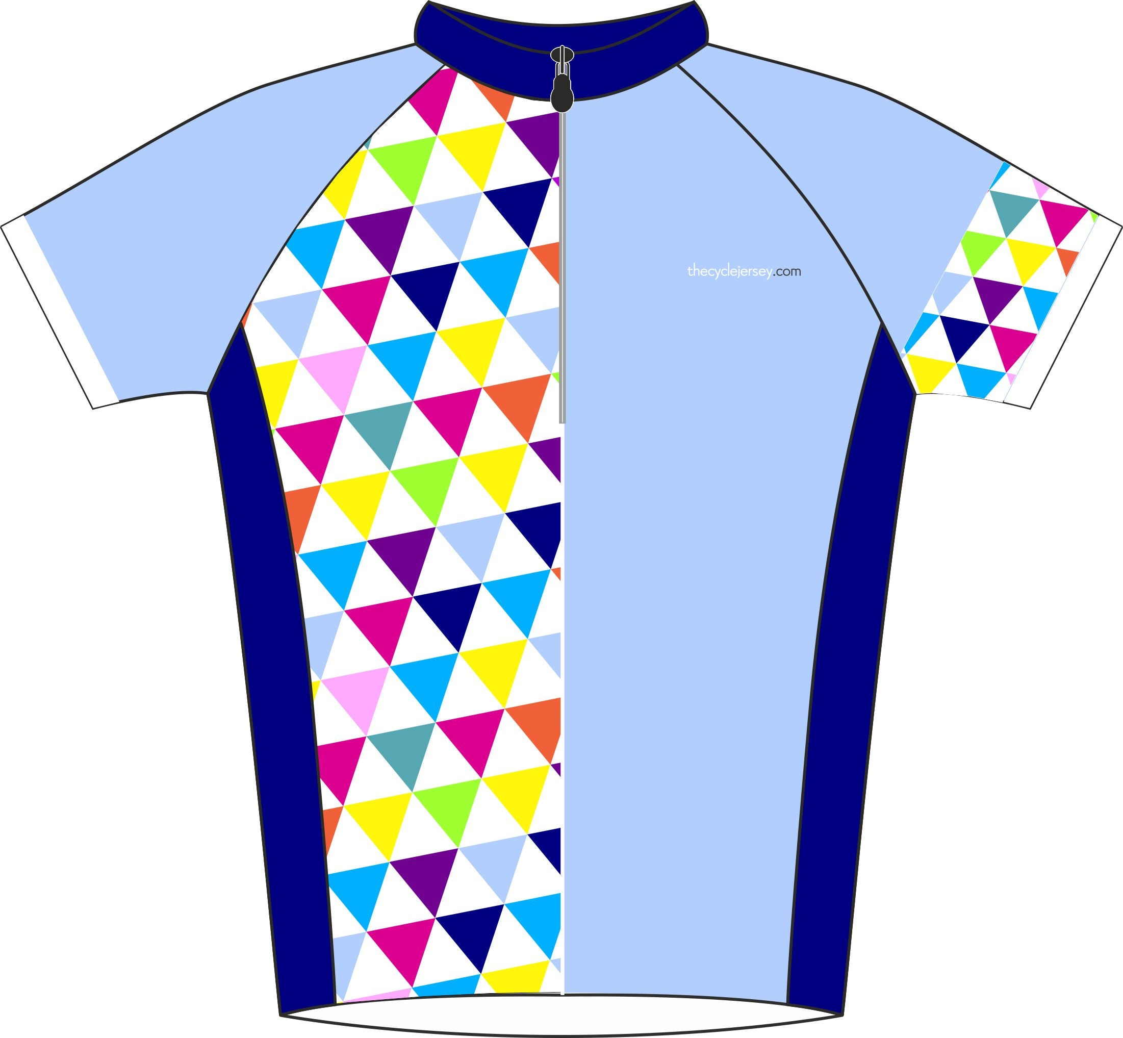 Alternative Triangle Blue Enduro Cycle Jersey Front