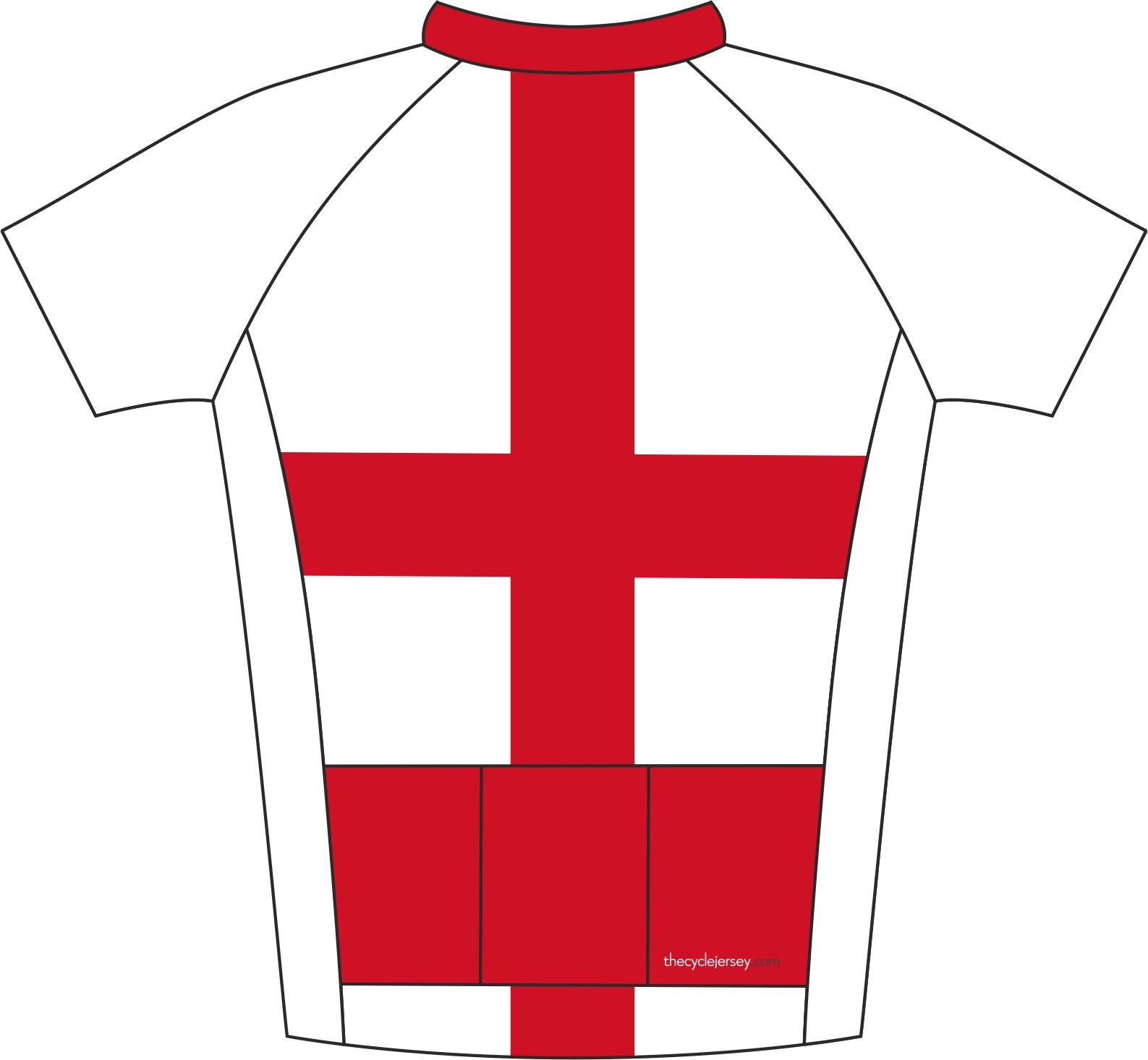 England Road Cycle Jersey Back