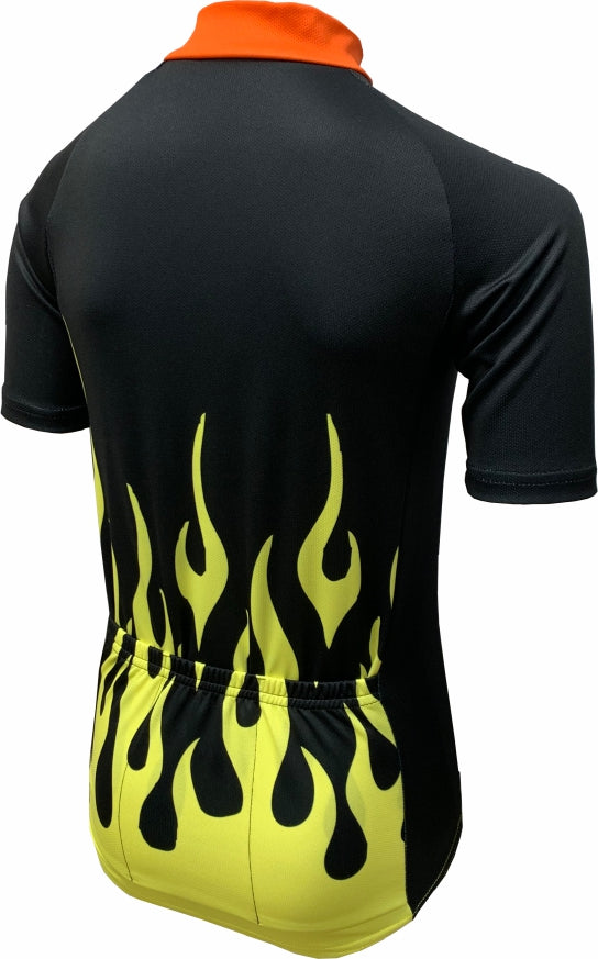 Hot Rod Flames Kids Cycling Jersey Back