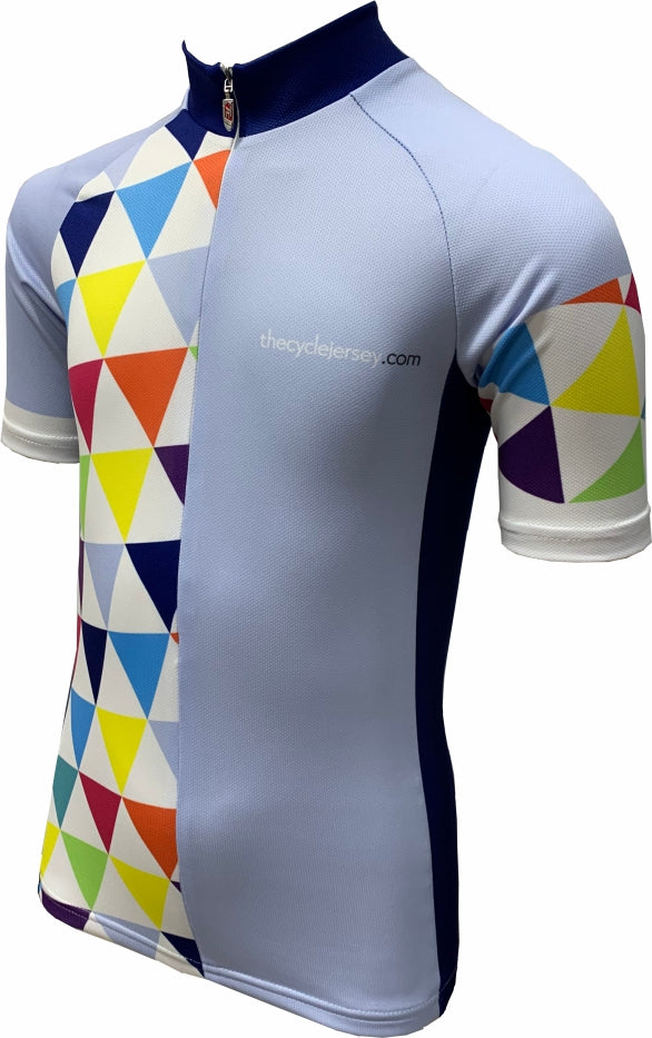 Alternative Triangle Blue Kids Cycling Jersey Front