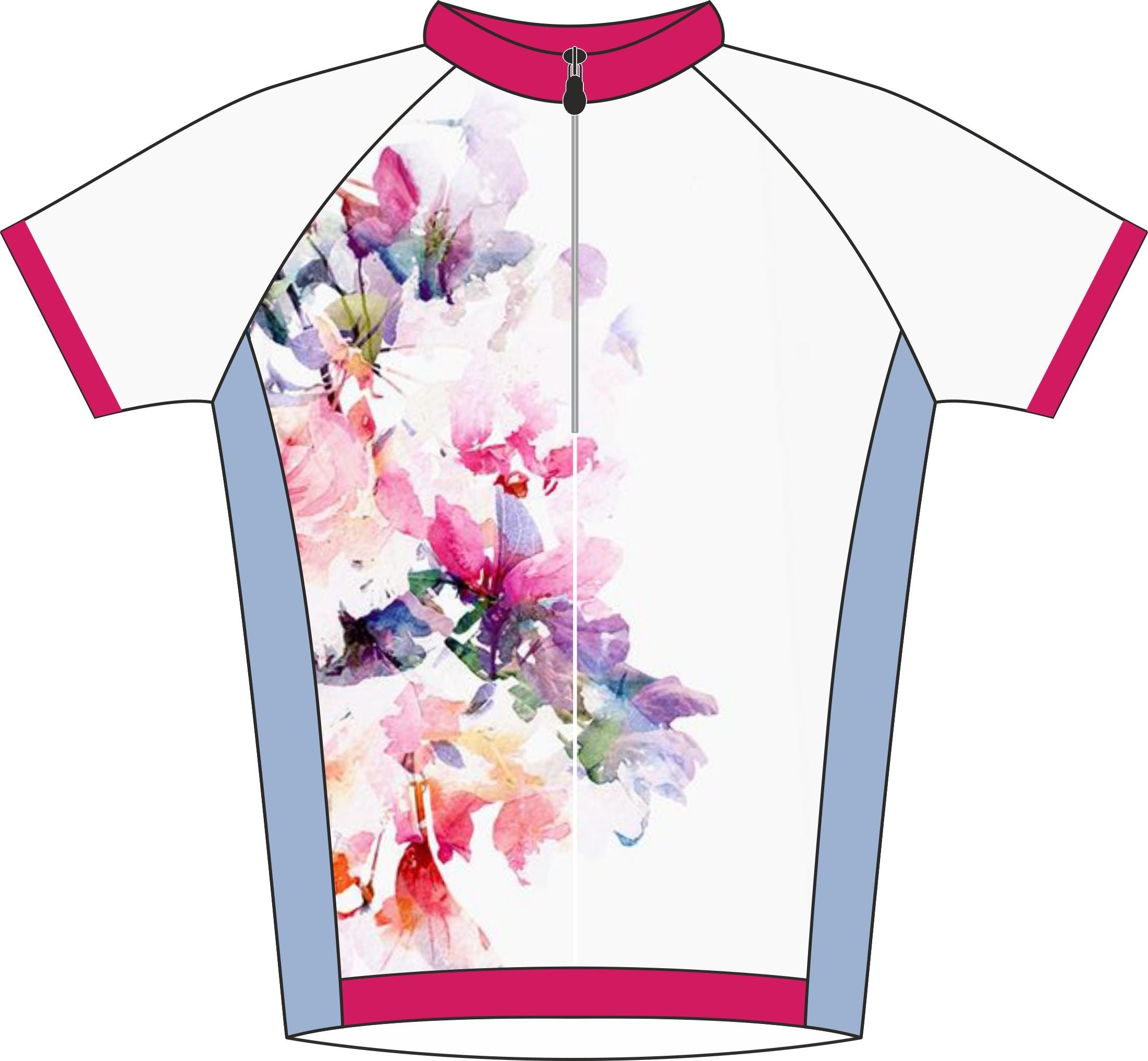 Floral Design Enduro Cycle Jersey Front