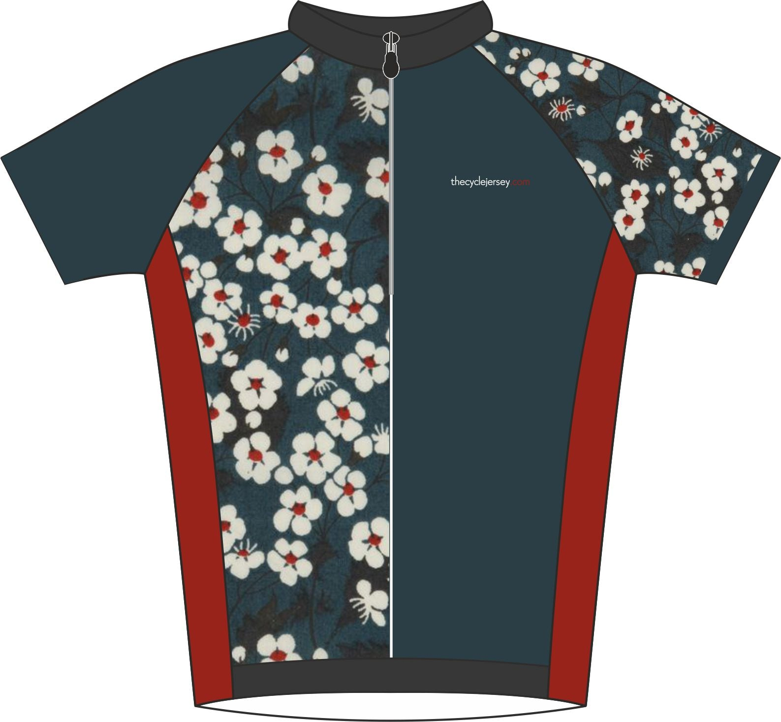 Oriental Floral Road Cycle Jersey Front
