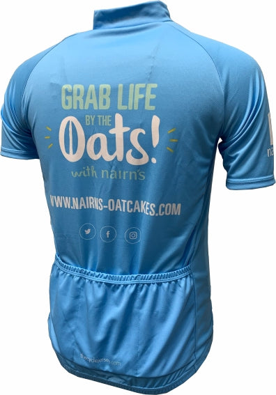 Nairn's Oatcakes Kids Blue Cycle Jersey Back