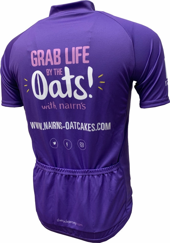 Nairn's Oatcakes Kids Purple Cycle Jersey Back
