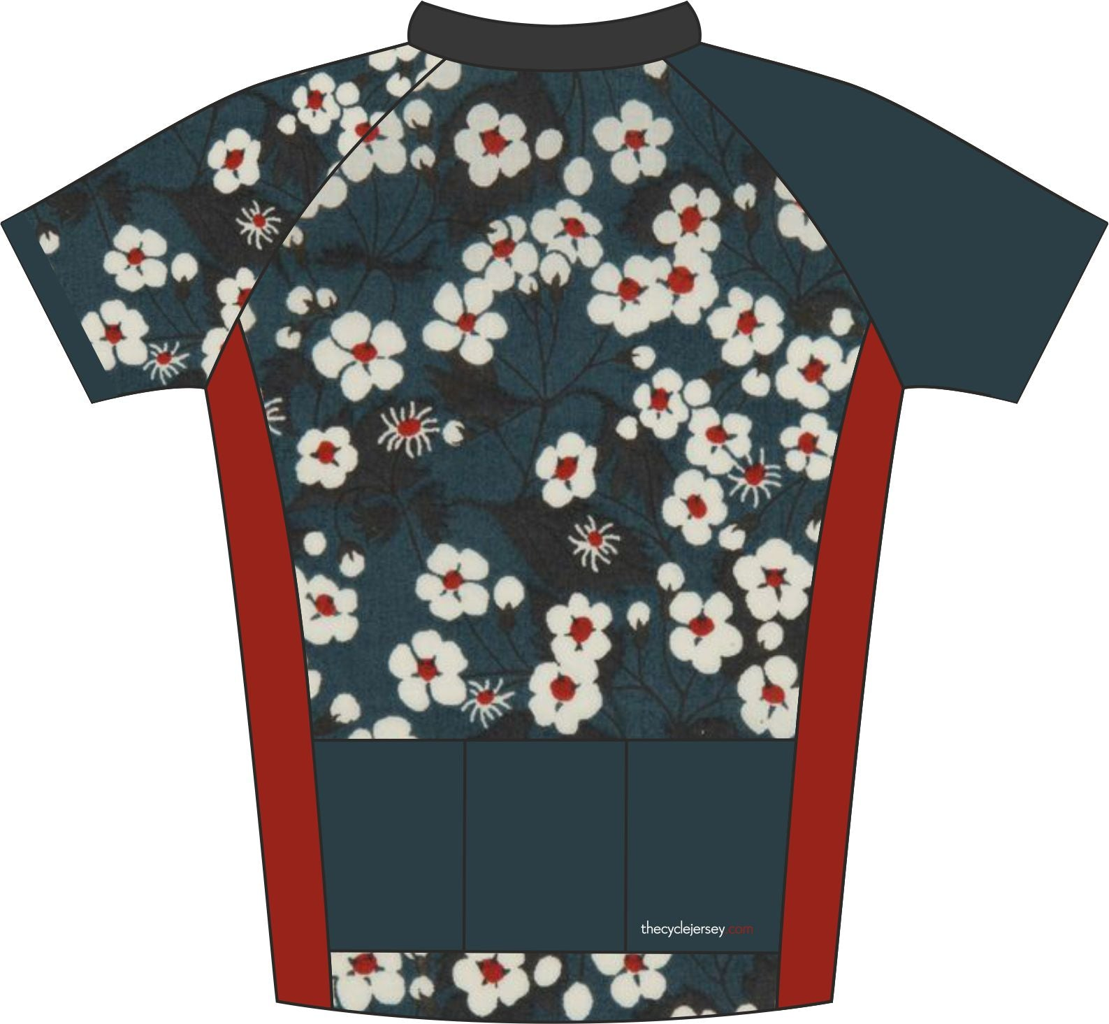 Oriental Floral Road Cycle Jersey Back