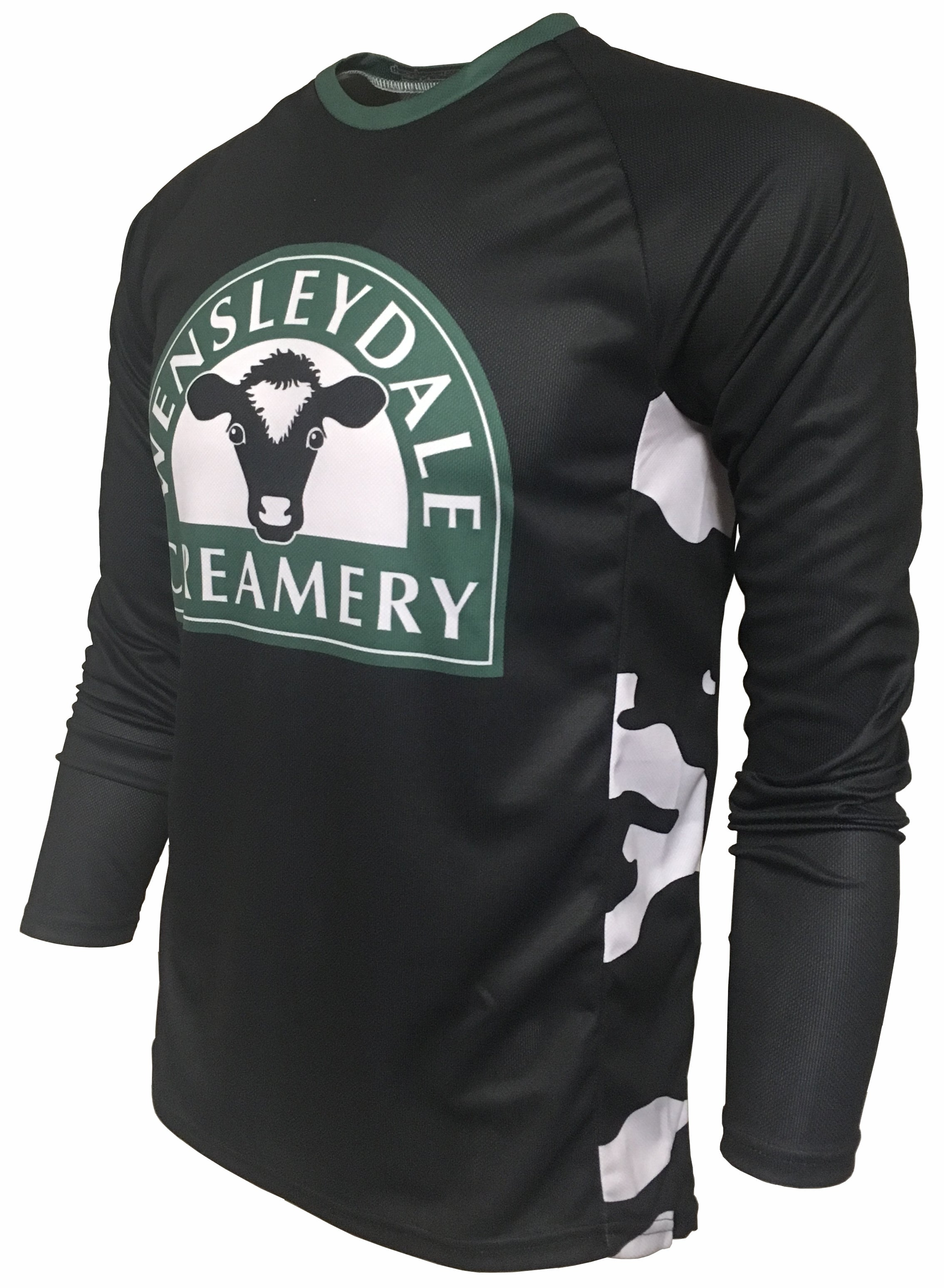 Wensleydale Creamery Cow Print Enduro Jersey Front