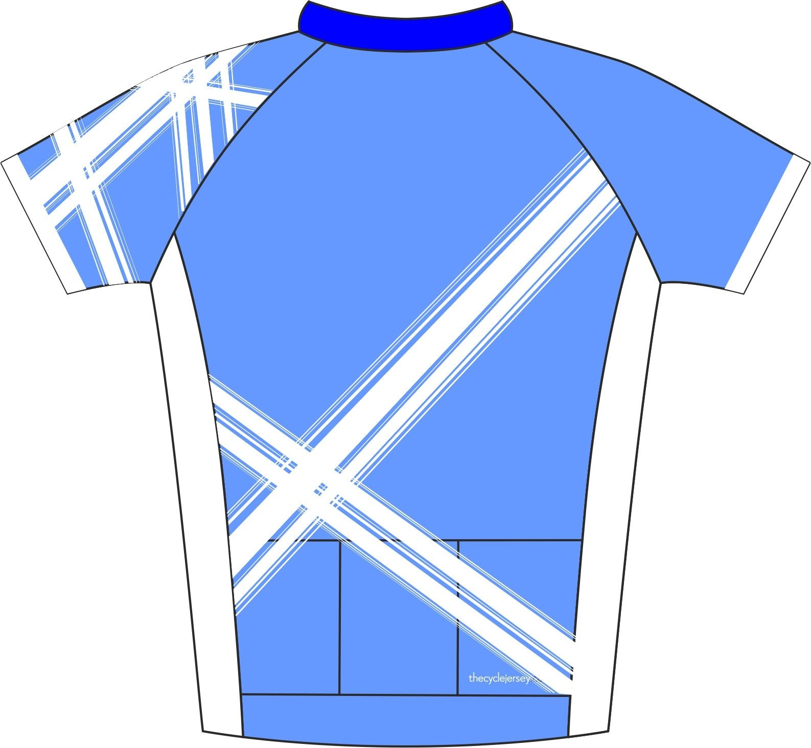 Criss Cross Blue Road Cycle Jersey Back