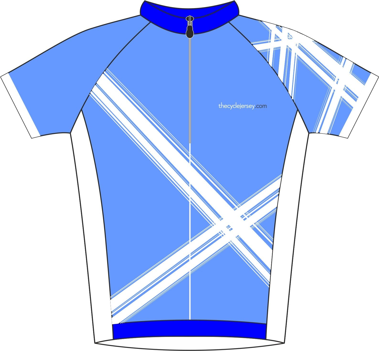 Criss Cross Blue Road Cycle Jersey Front