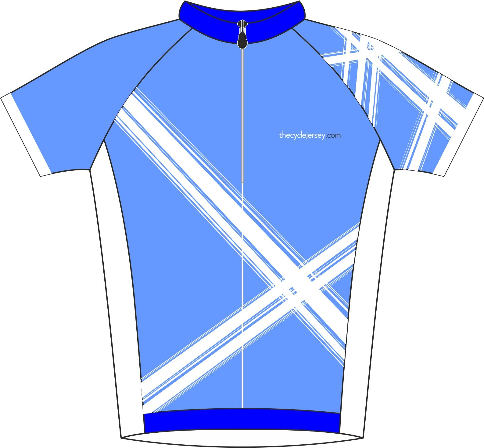 Criss Cross Blue Enduro Cycling Jersey Front
