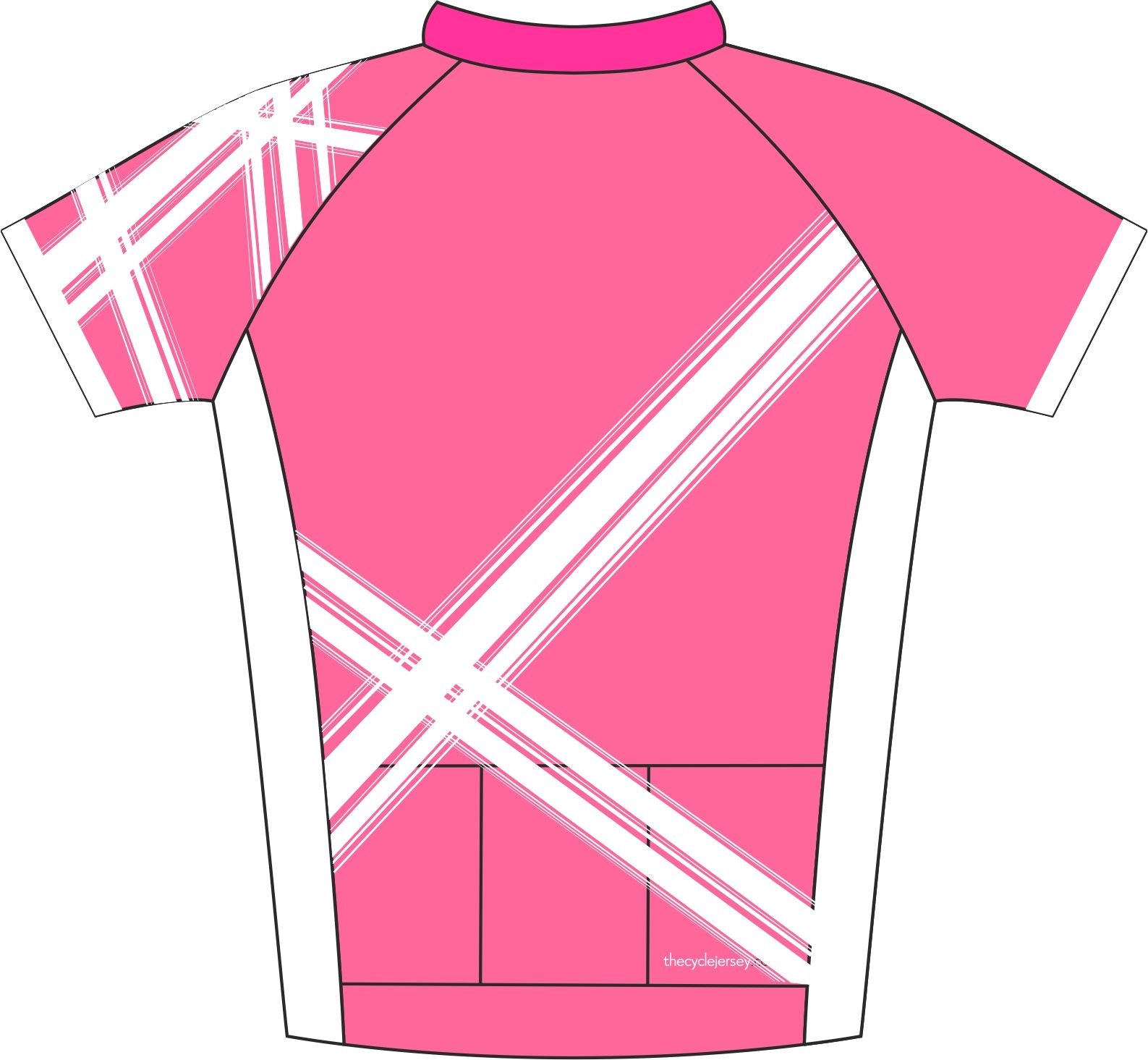 Criss Cross Pink Enduro Cycling Jersey Back