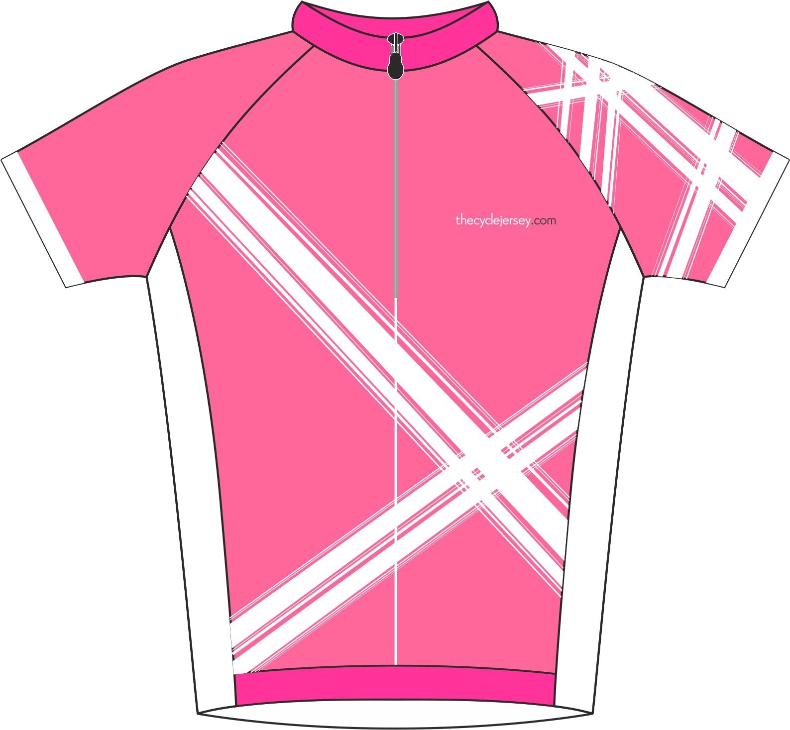 Criss Cross Pink Road Cycle Jersey Front