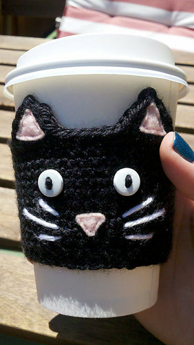 black cat cup cozy fair trade