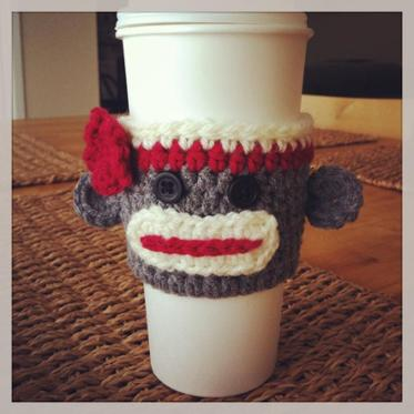 sock monkey cup cozy fair trade