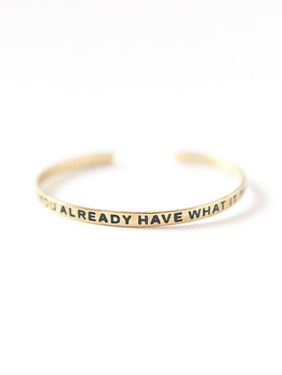 thin brass gold bracelet positive message you already have what it takes cuff fair trade jewelry