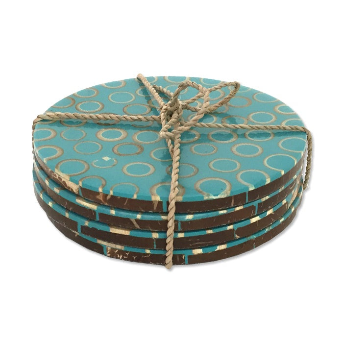 coconut shell coasters brown blue fair trade set of 4