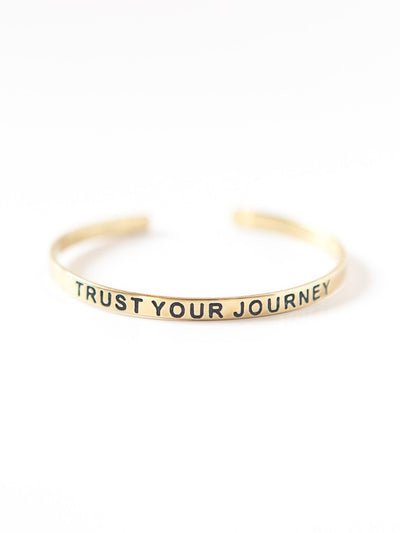 trust your journey bracelet brass gold fair trade jewelry positive message cuff