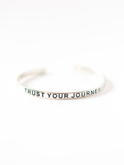 trust your journey bracelet silver fair trade jewelry positive message