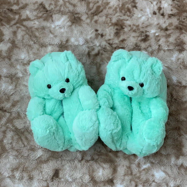 Mint Teddy Bear Slippers