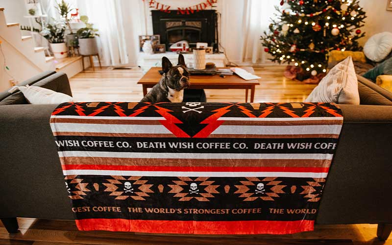 Dog sitting on a Coffee Roots Cozy Blanket