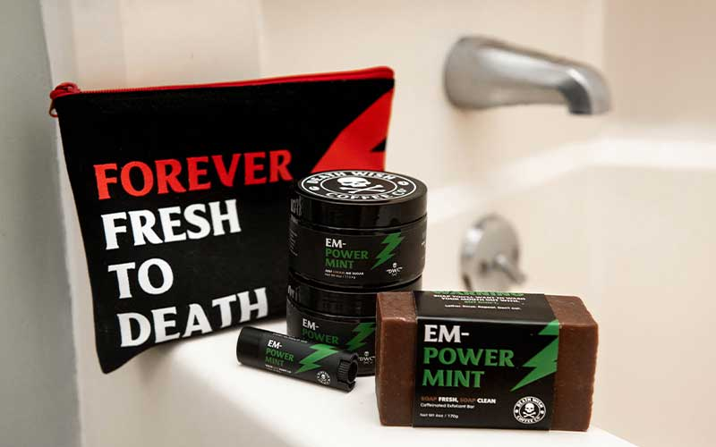 EMPOWERmint Self-Care Kit on the side of a tub